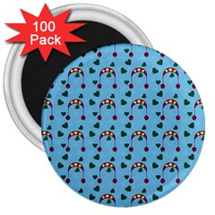 Winter Hat Red Green Hearts Snow Blue 3  Magnets (100 Pack)
