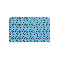Winter Hat Red Green Hearts Snow Blue Magnet (name Card)