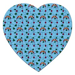 Winter Hat Red Green Hearts Snow Blue Jigsaw Puzzle (heart)