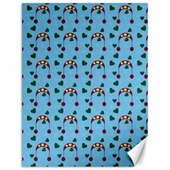 Winter Hat Red Green Hearts Snow Blue Canvas 12  X 16