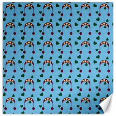 Winter Hat Red Green Hearts Snow Blue Canvas 20  X 20