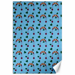 Winter Hat Red Green Hearts Snow Blue Canvas 20  X 30