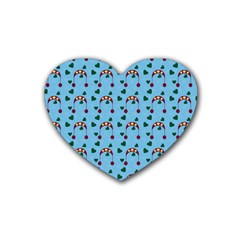 Winter Hat Red Green Hearts Snow Blue Rubber Coaster (heart)