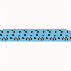 Winter Hat Red Green Hearts Snow Blue Small Bar Mats