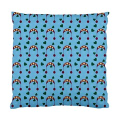 Winter Hat Red Green Hearts Snow Blue Standard Cushion Case (two Sides)
