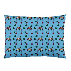 Winter Hat Red Green Hearts Snow Blue Pillow Case