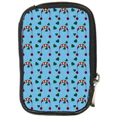 Winter Hat Red Green Hearts Snow Blue Compact Camera Cases