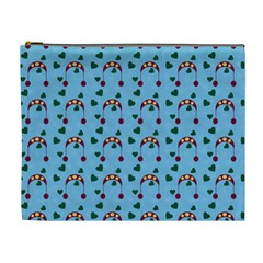 Winter Hat Red Green Hearts Snow Blue Cosmetic Bag (xl)