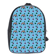 Winter Hat Red Green Hearts Snow Blue School Bag (large)