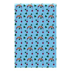 Winter Hat Red Green Hearts Snow Blue Shower Curtain 48  X 72  (small)