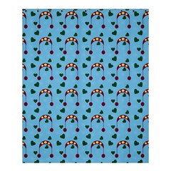 Winter Hat Red Green Hearts Snow Blue Shower Curtain 60  X 72  (medium)