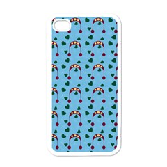 Winter Hat Red Green Hearts Snow Blue Apple Iphone 4 Case (white)