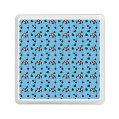 Winter Hat Red Green Hearts Snow Blue Memory Card Reader (square)