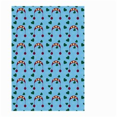 Winter Hat Red Green Hearts Snow Blue Small Garden Flag (two Sides)