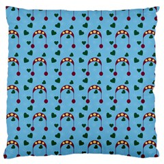 Winter Hat Red Green Hearts Snow Blue Large Cushion Case (one Side)
