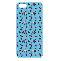 Winter Hat Red Green Hearts Snow Blue Apple Seamless Iphone 5 Case (color)