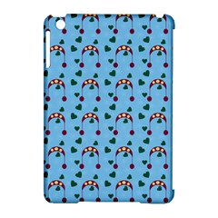 Winter Hat Red Green Hearts Snow Blue Apple Ipad Mini Hardshell Case (compatible With Smart Cover)