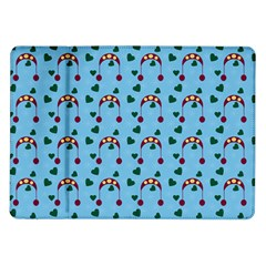 Winter Hat Red Green Hearts Snow Blue Samsung Galaxy Tab 10 1  P7500 Flip Case