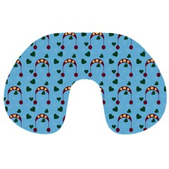 Winter Hat Red Green Hearts Snow Blue Travel Neck Pillows