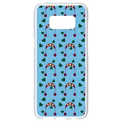 Winter Hat Red Green Hearts Snow Blue Samsung Galaxy S8 White Seamless Case