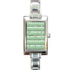 Greenish Dots Rectangle Italian Charm Watch