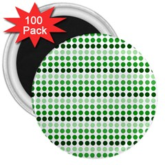Greenish Dots 3  Magnets (100 Pack)