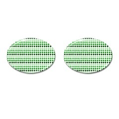 Greenish Dots Cufflinks (oval)