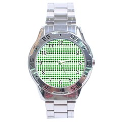 Greenish Dots Stainless Steel Analogue Watch