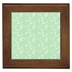 Mint Green White Music Framed Tiles