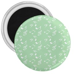 Mint Green White Music 3  Magnets