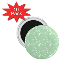 Mint Green White Music 1 75  Magnets (10 Pack)