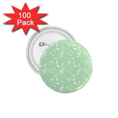 Mint Green White Music 1 75  Buttons (100 Pack)
