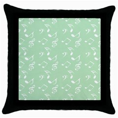 Mint Green White Music Throw Pillow Case (black)