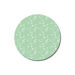 Mint Green White Music Rubber Round Coaster (4 Pack)