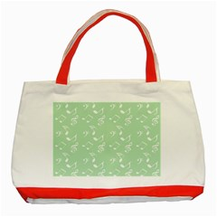 Mint Green White Music Classic Tote Bag (red)