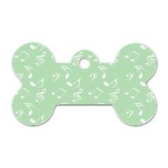 Mint Green White Music Dog Tag Bone (one Side)