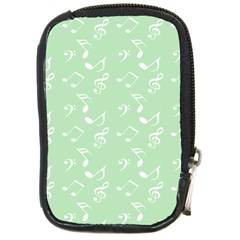 Mint Green White Music Compact Camera Cases