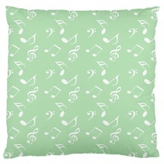 Mint Green White Music Large Cushion Case (two Sides)