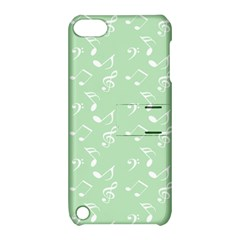 Mint Green White Music Apple Ipod Touch 5 Hardshell Case With Stand
