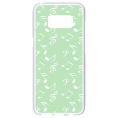 Mint Green White Music Samsung Galaxy S8 White Seamless Case