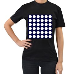 Big Dot Blue Women s T Shirt (black) (two Sided)