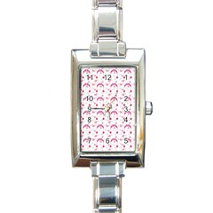 Winter Pink Hat White Heart Snow Rectangle Italian Charm Watch