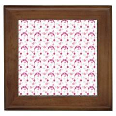 Winter Pink Hat White Heart Snow Framed Tiles