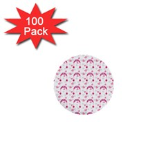 Winter Pink Hat White Heart Snow 1  Mini Buttons (100 Pack)