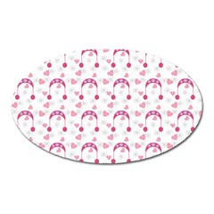 Winter Pink Hat White Heart Snow Oval Magnet