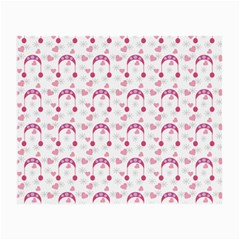 Winter Pink Hat White Heart Snow Small Glasses Cloth