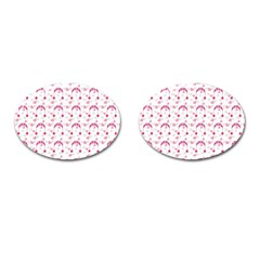 Winter Pink Hat White Heart Snow Cufflinks (oval)
