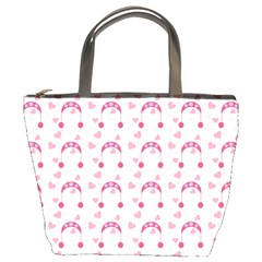 Winter Pink Hat White Heart Snow Bucket Bags