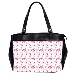 Winter Pink Hat White Heart Snow Office Handbags (2 Sides)