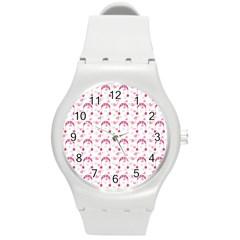 Winter Pink Hat White Heart Snow Round Plastic Sport Watch (m)